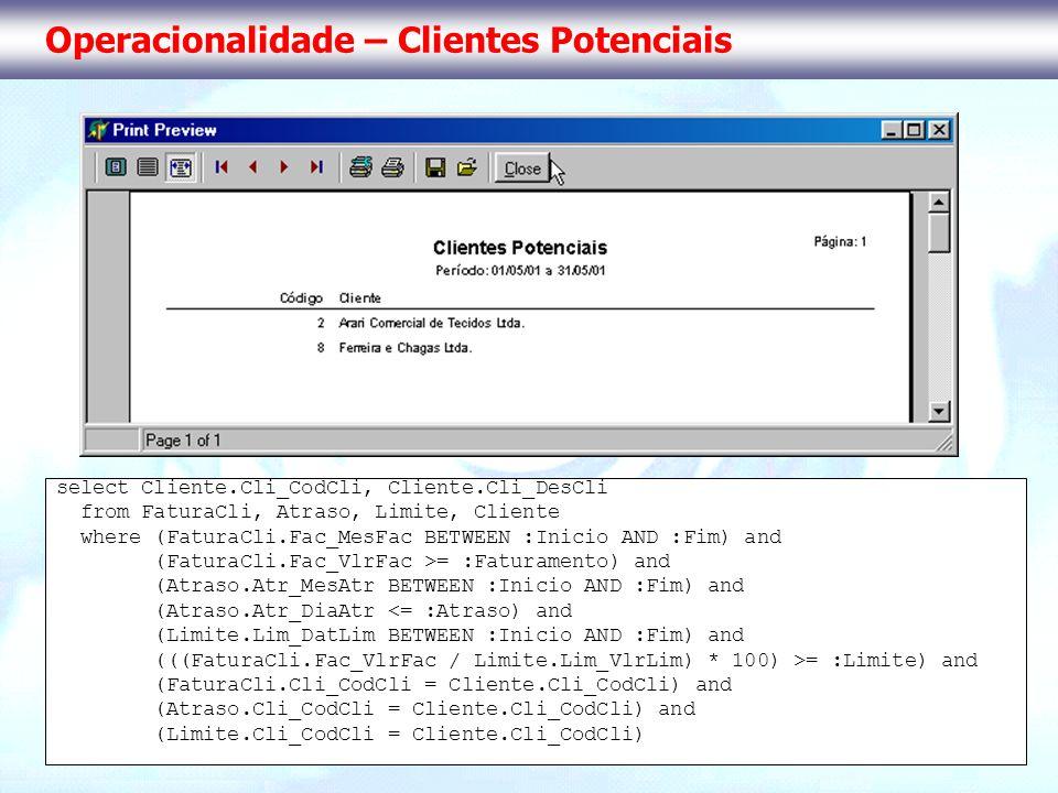 Operacionalidade – Clientes Potenciais select Cliente.Cli_CodCli, Cliente.Cli_DesCli from FaturaCli, Atraso, Limite, Cliente where (FaturaCli.Fac_MesF