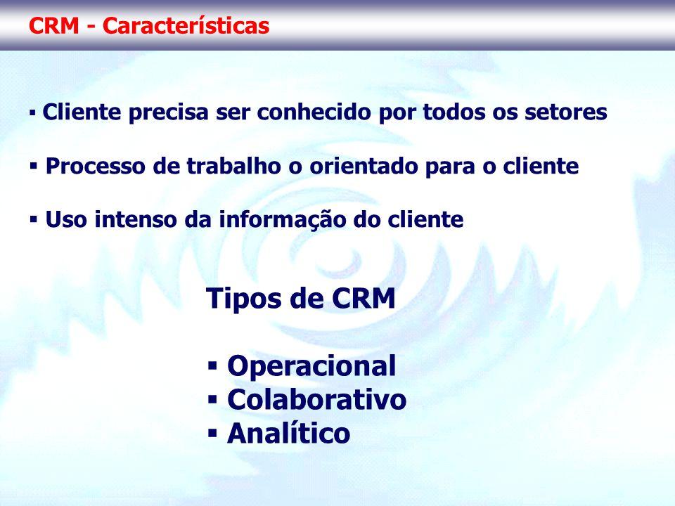 CRM - Características Cliente precisa ser conhecido por todos os setores Processo de trabalho o orientado para o cliente Uso intenso da informação do