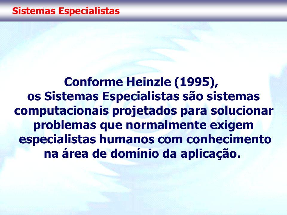 Sistemas Especialistas Conforme Heinzle (1995), os Sistemas Especialistas são sistemas computacionais projetados para solucionar problemas que normalm