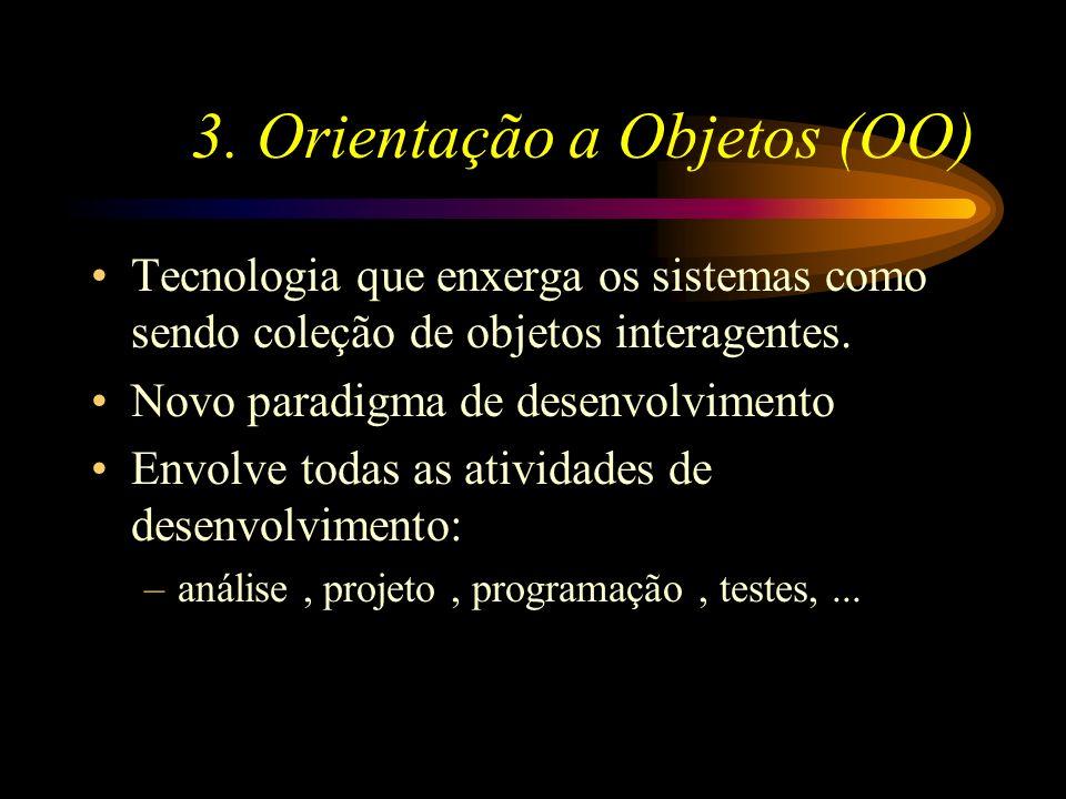 3. Orientação a Objetos (OO) Tecnologia que enxerga os sistemas como sendo coleção de objetos interagentes. Novo paradigma de desenvolvimento Envolve