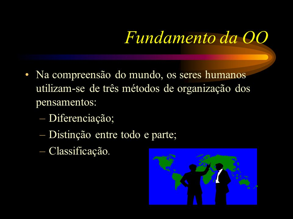 Fundamento da OO Na compreensão do mundo, os seres humanos utilizam-se de três métodos de organização dos pensamentos: –Diferenciação; –Distinção entr