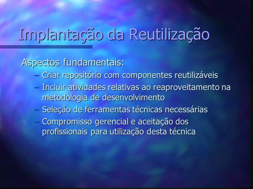 Ferramentas para reutilização n Identificação/Análise de Domínio –Sistemas especialistas em extração de conhecimento...