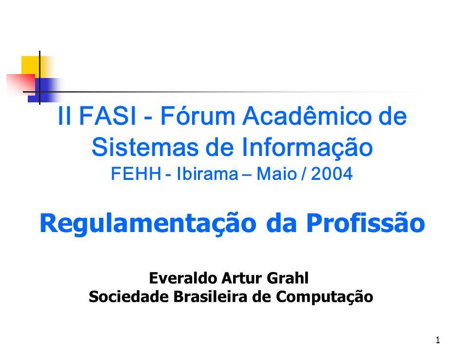 1 II FASI - Fórum Acadêmico de Sistemas de Informação FEHH - Ibirama – Maio / 2004 Regulamentação da Profissão Everaldo Artur Grahl Sociedade Brasilei