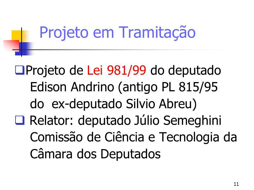 11 Projeto em Tramitação Projeto de Lei 981/99 do deputado Edison Andrino (antigo PL 815/95 do ex-deputado Silvio Abreu) Relator: deputado Júlio Semeg