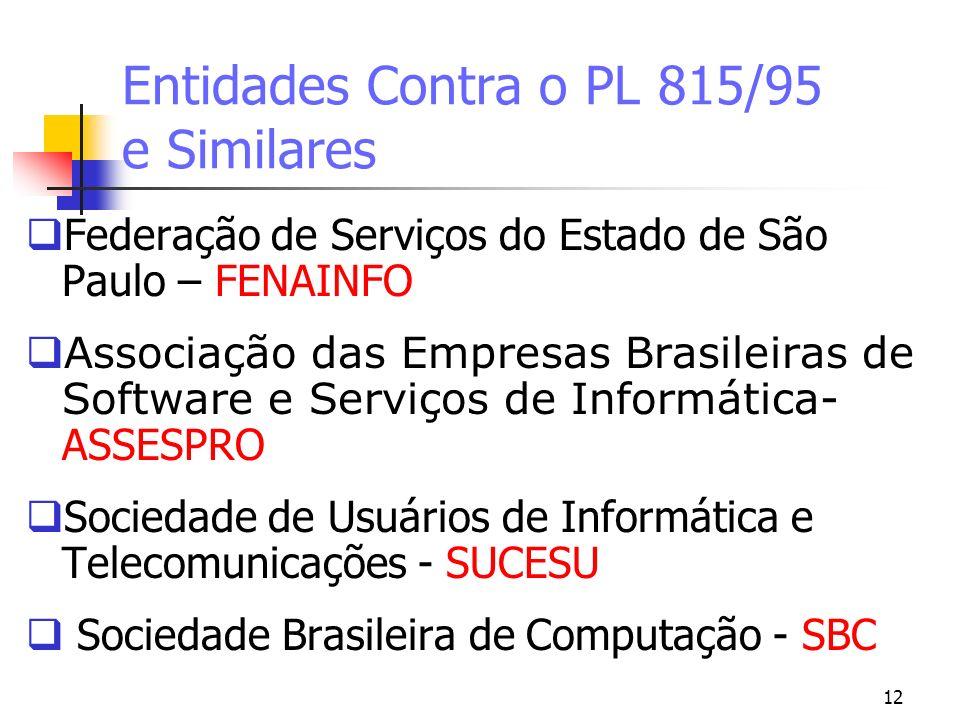 12 Entidades Contra o PL 815/95 e Similares Federação de Serviços do Estado de São Paulo – FENAINFO Associação das Empresas Brasileiras de Software e