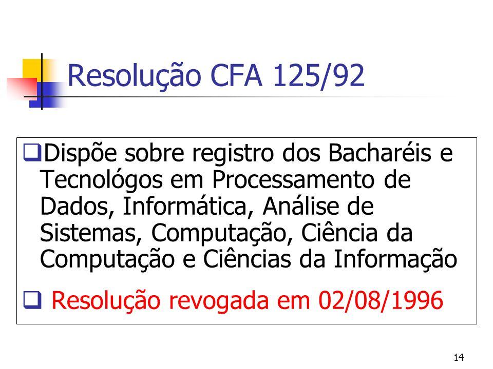 14 Resolução CFA 125/92 Dispõe sobre registro dos Bacharéis e Tecnológos em Processamento de Dados, Informática, Análise de Sistemas, Computação, Ciên