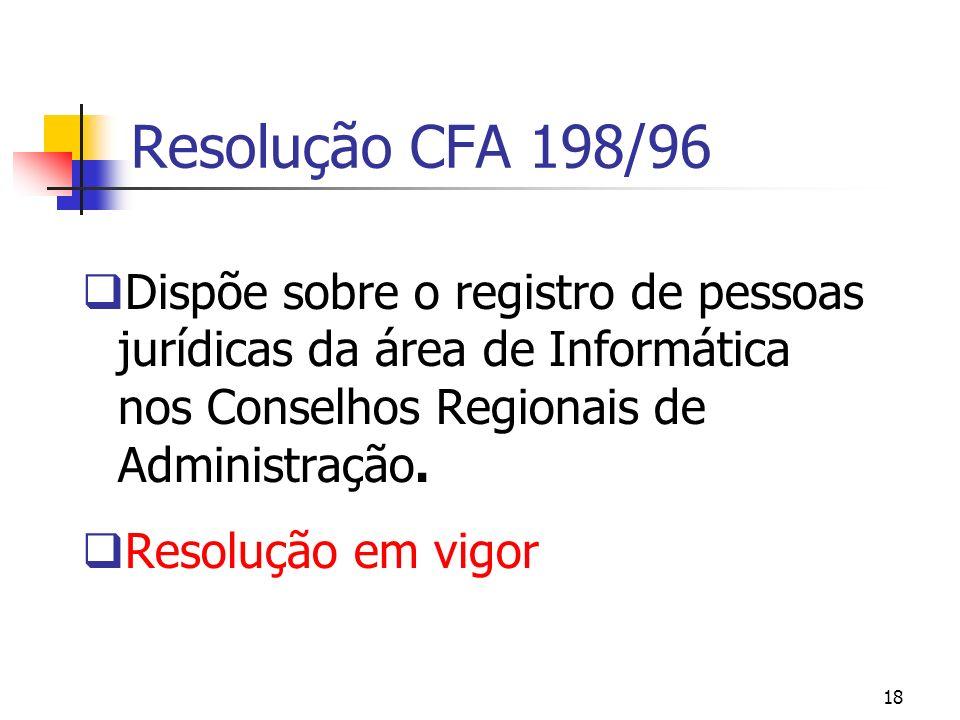 18 Resolução CFA 198/96 Dispõe sobre o registro de pessoas jurídicas da área de Informática nos Conselhos Regionais de Administração. Resolução em vig