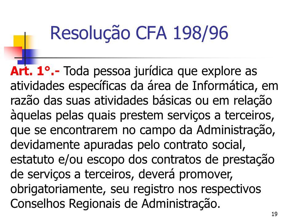 19 Resolução CFA 198/96 Art. 1°.- Toda pessoa jurídica que explore as atividades específicas da área de Informática, em razão das suas atividades bási