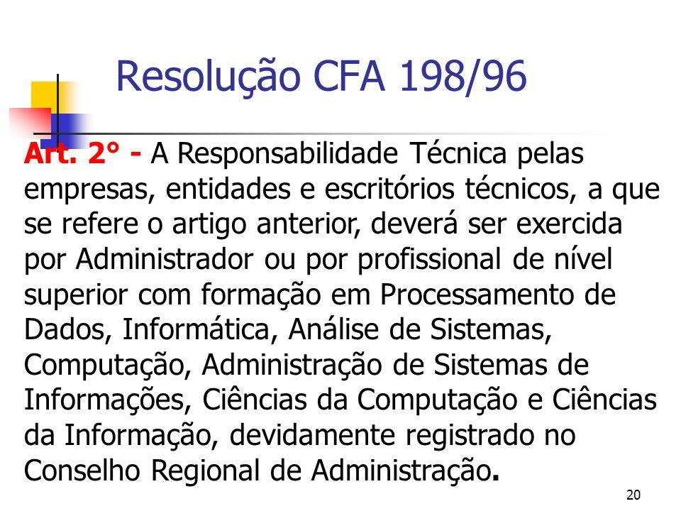 20 Resolução CFA 198/96 Art. 2° - A Responsabilidade Técnica pelas empresas, entidades e escritórios técnicos, a que se refere o artigo anterior, deve
