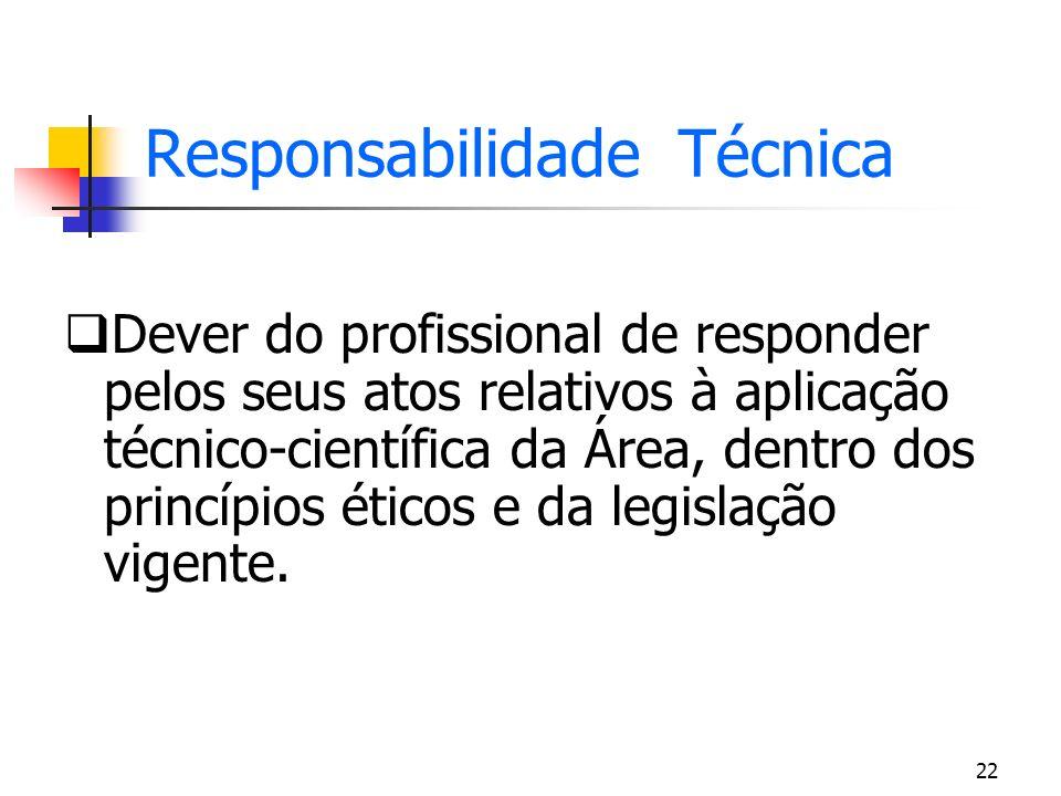 22 Responsabilidade Técnica Dever do profissional de responder pelos seus atos relativos à aplicação técnico-científica da Área, dentro dos princípios