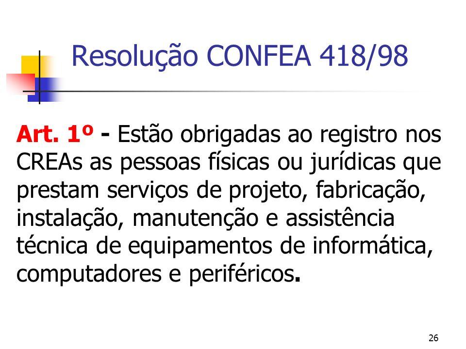 26 Resolução CONFEA 418/98 Art. 1º - Estão obrigadas ao registro nos CREAs as pessoas físicas ou jurídicas que prestam serviços de projeto, fabricação