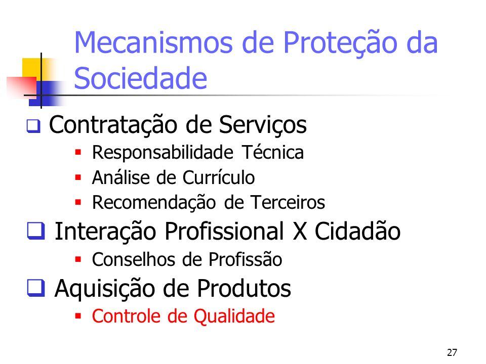 27 Mecanismos de Proteção da Sociedade Contratação de Serviços Responsabilidade Técnica Análise de Currículo Recomendação de Terceiros Interação Profi