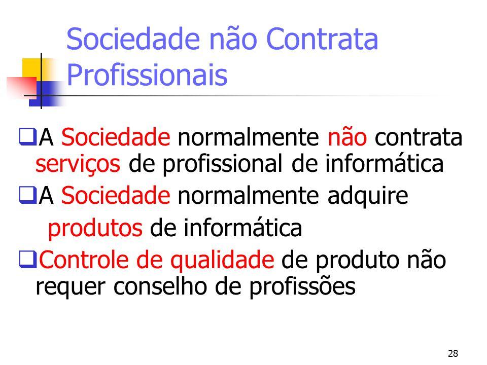 28 Sociedade não Contrata Profissionais A Sociedade normalmente não contrata serviços de profissional de informática A Sociedade normalmente adquire p