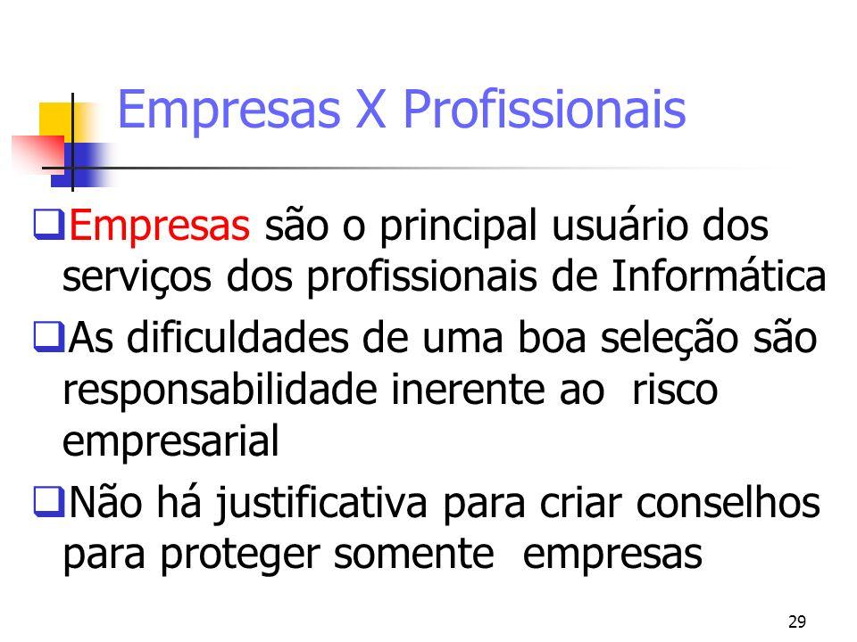 29 Empresas X Profissionais Empresas são o principal usuário dos serviços dos profissionais de Informática As dificuldades de uma boa seleção são resp
