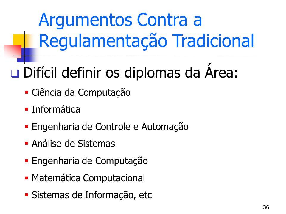 36 Difícil definir os diplomas da Área: Ciência da Computação Informática Engenharia de Controle e Automação Análise de Sistemas Engenharia de Computa
