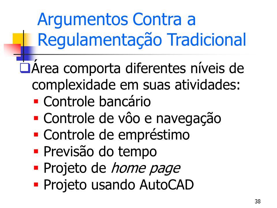 38 Área comporta diferentes níveis de complexidade em suas atividades: Controle bancário Controle de vôo e navegação Controle de empréstimo Previsão d