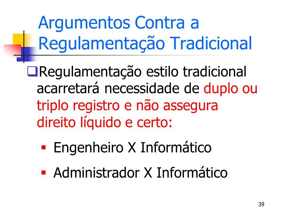 39 Argumentos Contra a Regulamentação Tradicional Regulamentação estilo tradicional acarretará necessidade de duplo ou triplo registro e não assegura