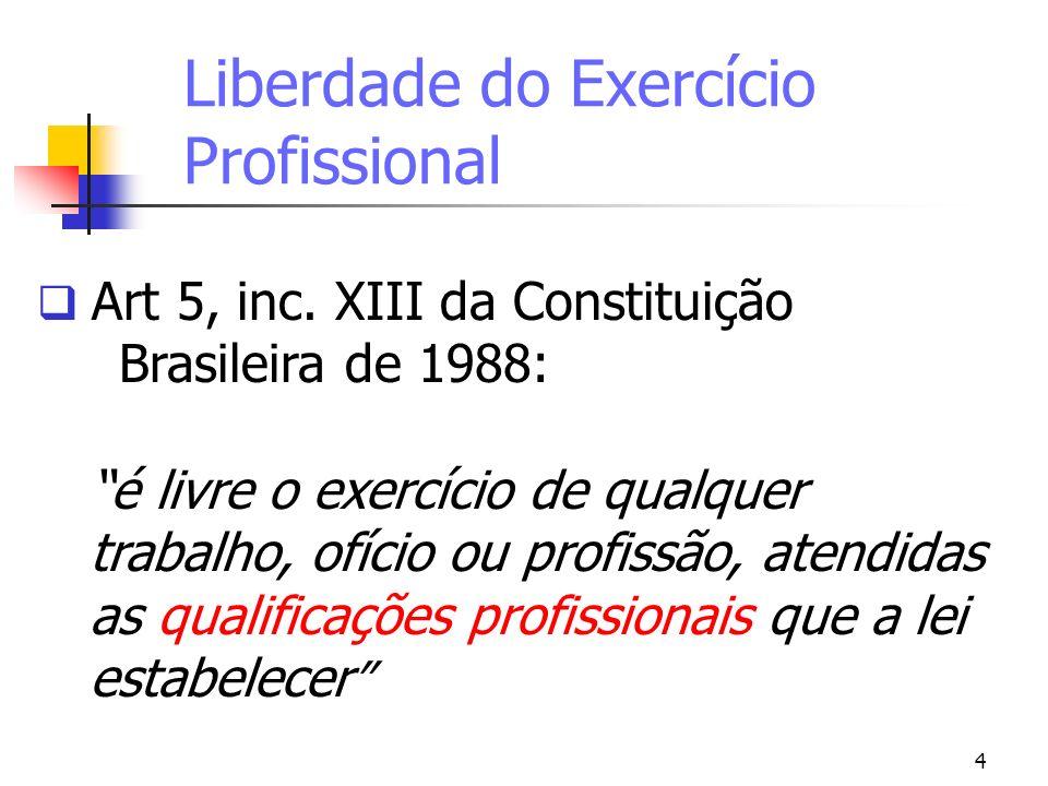 4 Liberdade do Exercício Profissional Art 5, inc. XIII da Constituição Brasileira de 1988: é livre o exercício de qualquer trabalho, ofício ou profiss