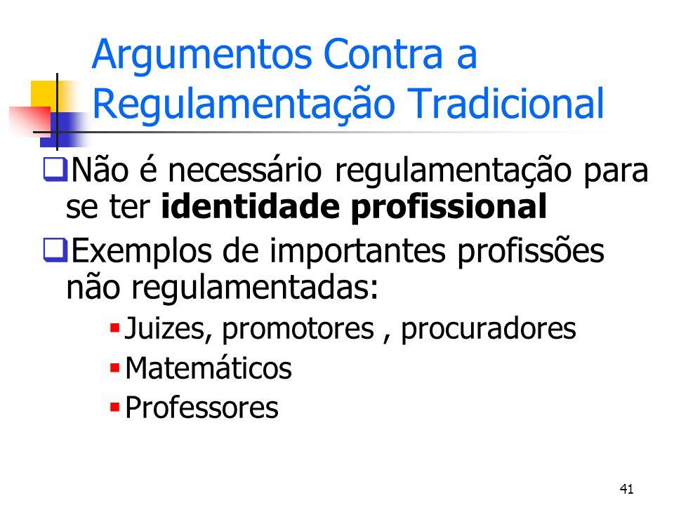 41 Argumentos Contra a Regulamentação Tradicional Não é necessário regulamentação para se ter identidade profissional Exemplos de importantes profissõ