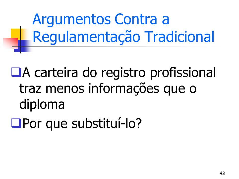 43 Argumentos Contra a Regulamentação Tradicional A carteira do registro profissional traz menos informações que o diploma Por que substituí-lo?