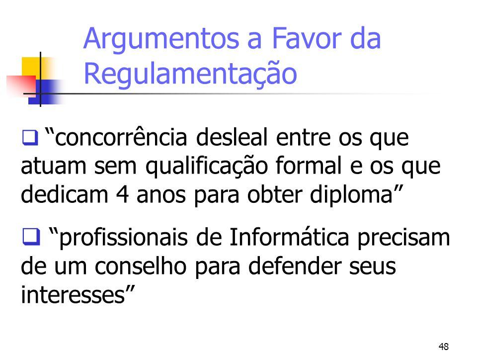 48 Argumentos a Favor da Regulamentação concorrência desleal entre os que atuam sem qualificação formal e os que dedicam 4 anos para obter diploma pro