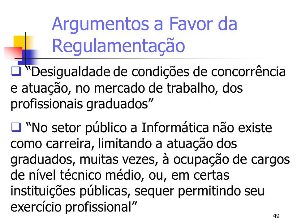 49 Argumentos a Favor da Regulamentação Desigualdade de condições de concorrência e atuação, no mercado de trabalho, dos profissionais graduados No se