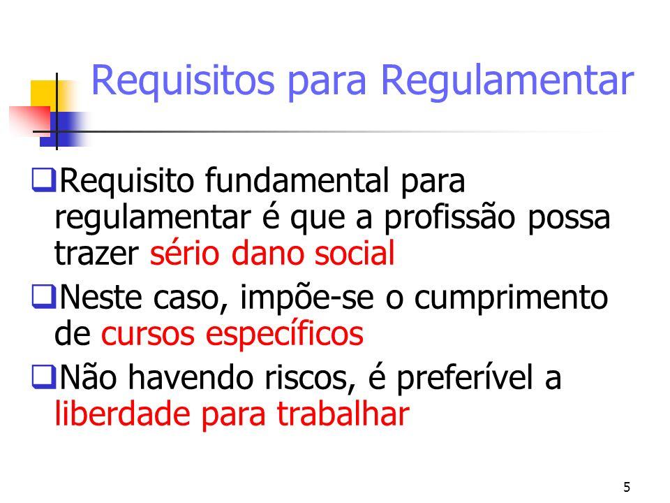 5 Requisitos para Regulamentar Requisito fundamental para regulamentar é que a profissão possa trazer sério dano social Neste caso, impõe-se o cumprim