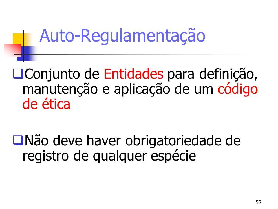 52 Auto-Regulamentação Conjunto de Entidades para definição, manutenção e aplicação de um código de ética Não deve haver obrigatoriedade de registro d