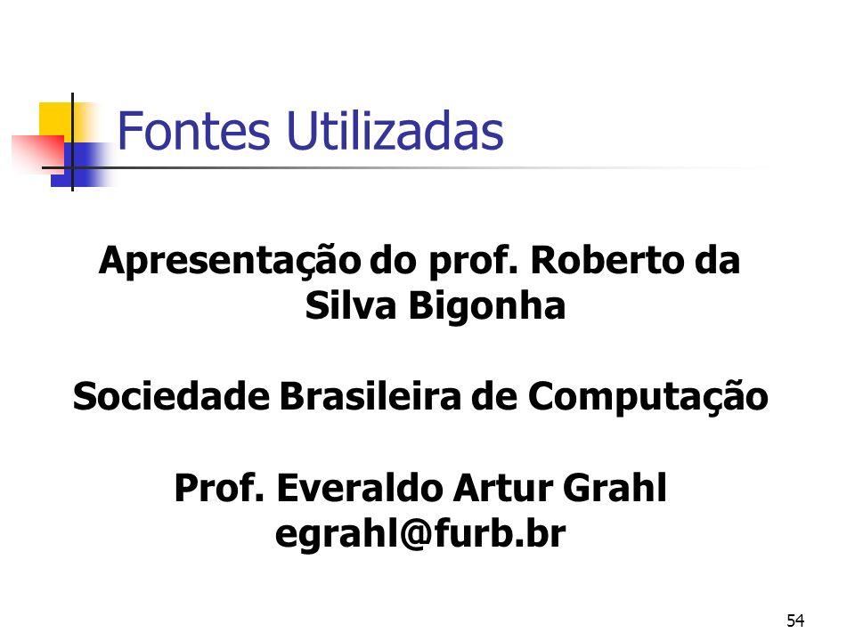 54 Fontes Utilizadas Apresentação do prof. Roberto da Silva Bigonha Sociedade Brasileira de Computação Prof. Everaldo Artur Grahl egrahl@furb.br