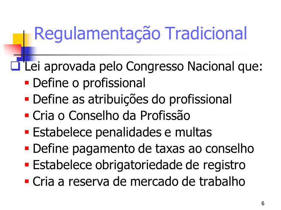 6 Regulamentação Tradicional Lei aprovada pelo Congresso Nacional que: Define o profissional Define as atribuições do profissional Cria o Conselho da