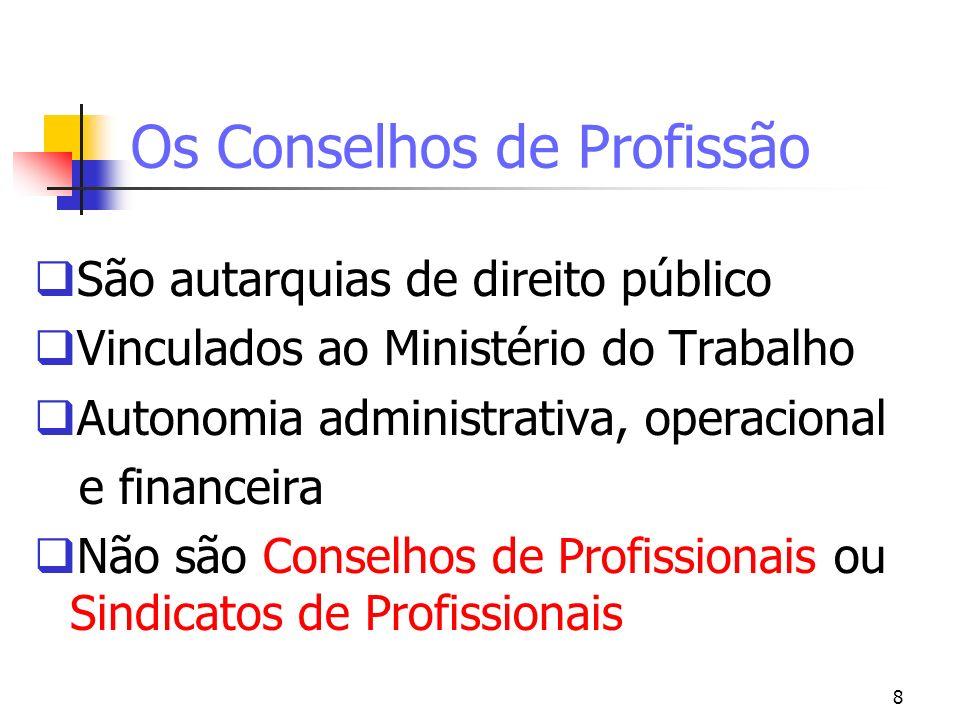 8 Os Conselhos de Profissão São autarquias de direito público Vinculados ao Ministério do Trabalho Autonomia administrativa, operacional e financeira