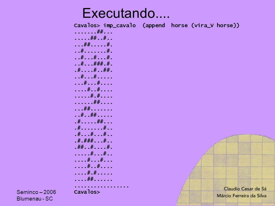 Seminco – 2006 Blumenau - SC Executando.... Cavalos> imp_cavalo (append horse (vira_V horse)).......##........##..#.....##.....#...#.......#...#...#..