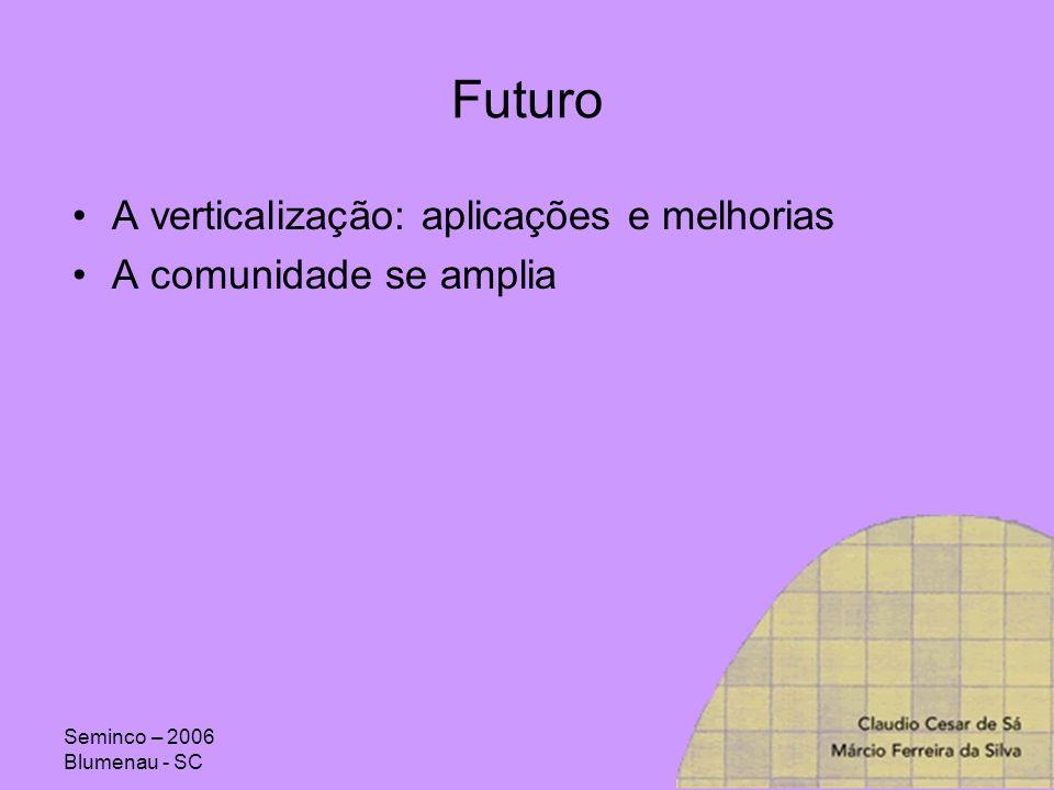 Seminco – 2006 Blumenau - SC Futuro A verticalização: aplicações e melhorias A comunidade se amplia