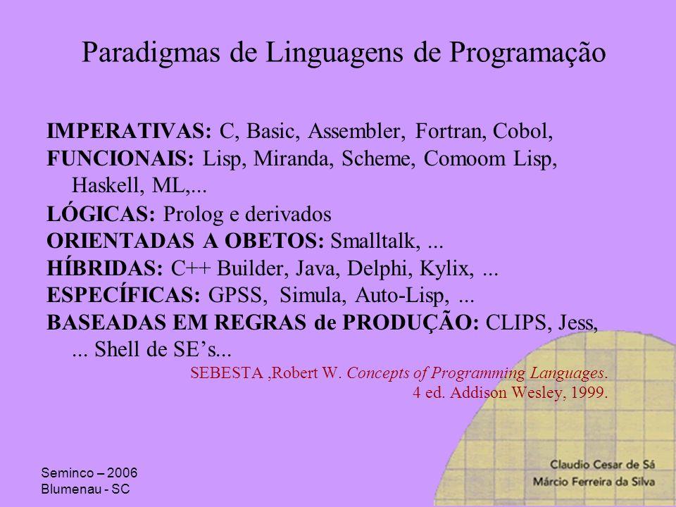Seminco – 2006 Blumenau - SC Paradigmas de Linguagens de Programação IMPERATIVAS: C, Basic, Assembler, Fortran, Cobol, FUNCIONAIS: Lisp, Miranda, Sche