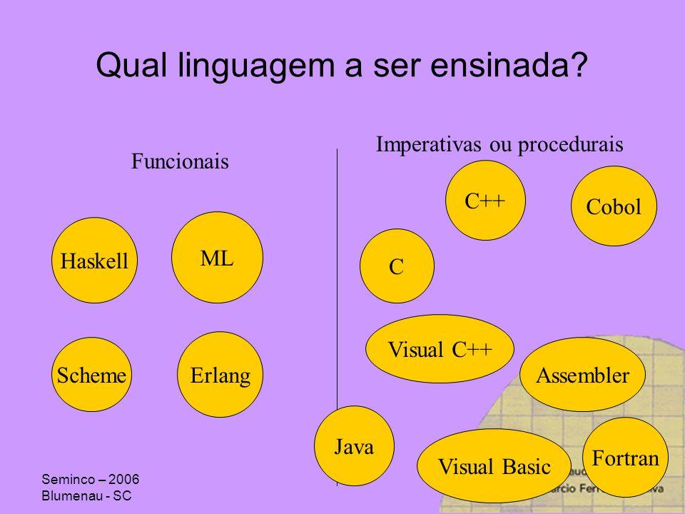 Seminco – 2006 Blumenau - SC Evolução: Genealogia From Sebestas Concepts of ProgrammingLanguages Haskell PrologSWI-Prolog