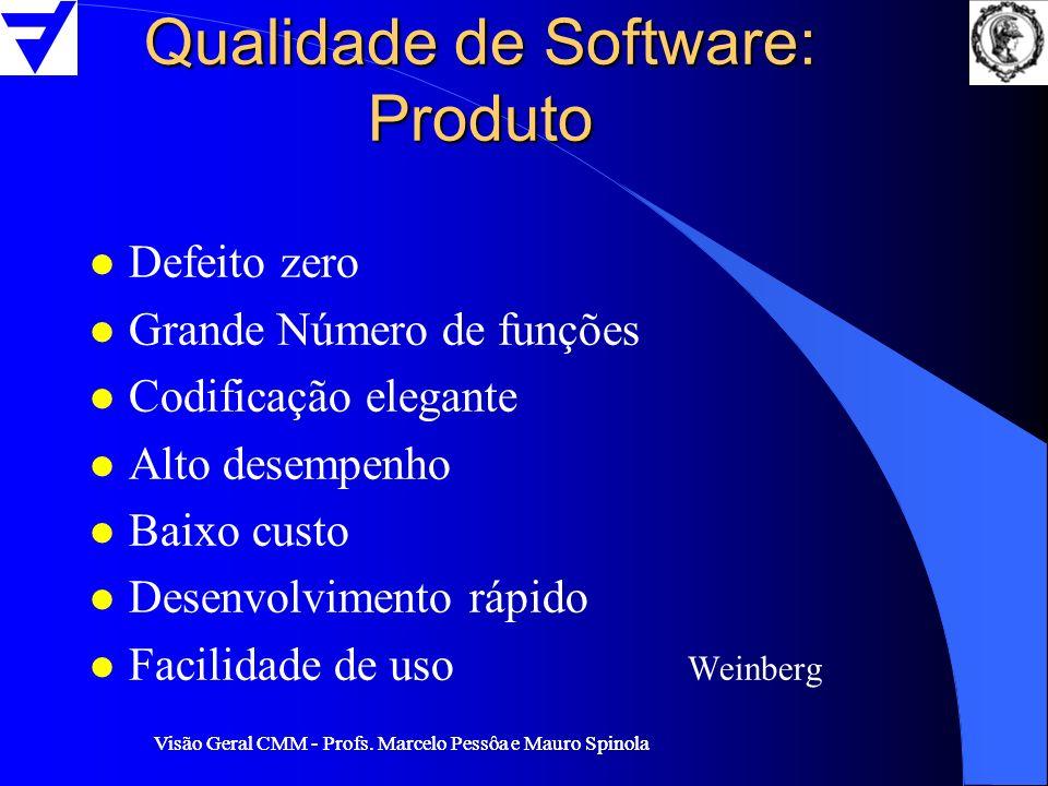 Visão Geral CMM - Profs. Marcelo Pessôa e Mauro Spinola Qualidade de Software: Produto l Defeito zero l Grande Número de funções l Codificação elegant