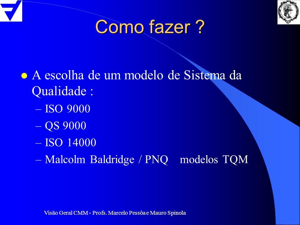 Visão Geral CMM - Profs. Marcelo Pessôa e Mauro Spinola Como fazer ? l A escolha de um modelo de Sistema da Qualidade : –ISO 9000 –QS 9000 –ISO 14000