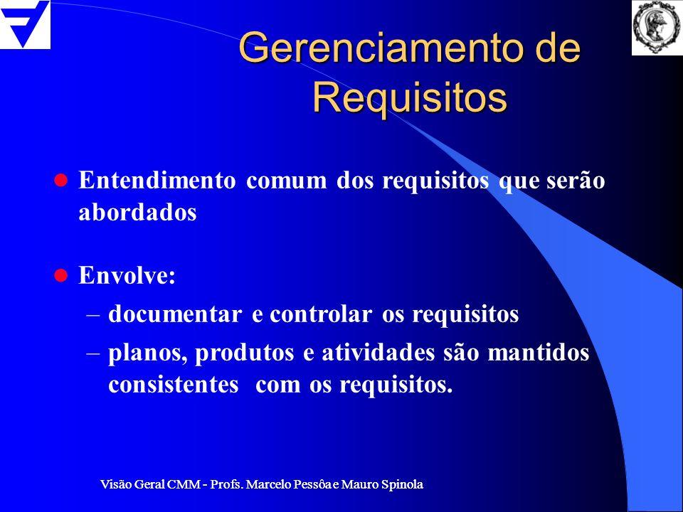 Visão Geral CMM - Profs. Marcelo Pessôa e Mauro Spinola Gerenciamento de Requisitos l Entendimento comum dos requisitos que serão abordados l Envolve: