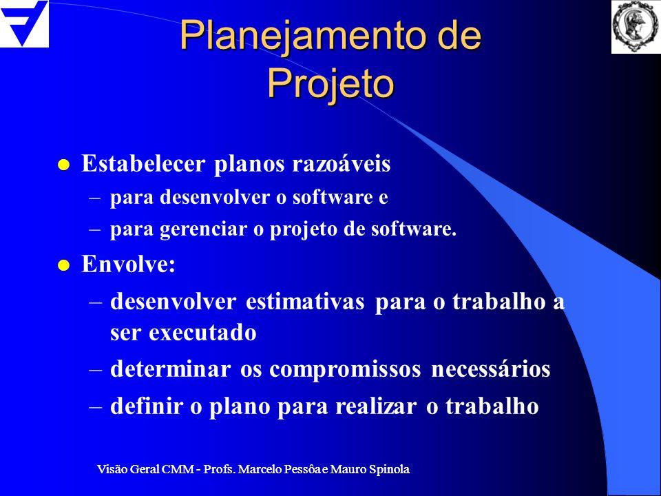 Visão Geral CMM - Profs. Marcelo Pessôa e Mauro Spinola Planejamento de Projeto l Estabelecer planos razoáveis –para desenvolver o software e –para ge