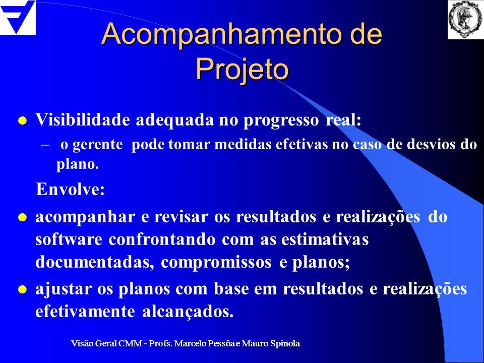 Visão Geral CMM - Profs. Marcelo Pessôa e Mauro Spinola Acompanhamento de Projeto l Visibilidade adequada no progresso real: – o gerente pode tomar me