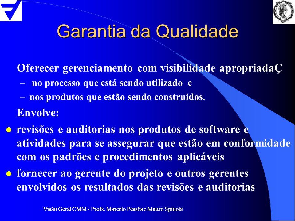 Visão Geral CMM - Profs. Marcelo Pessôa e Mauro Spinola Garantia da Qualidade Oferecer gerenciamento com visibilidade apropriadaÇ – no processo que es