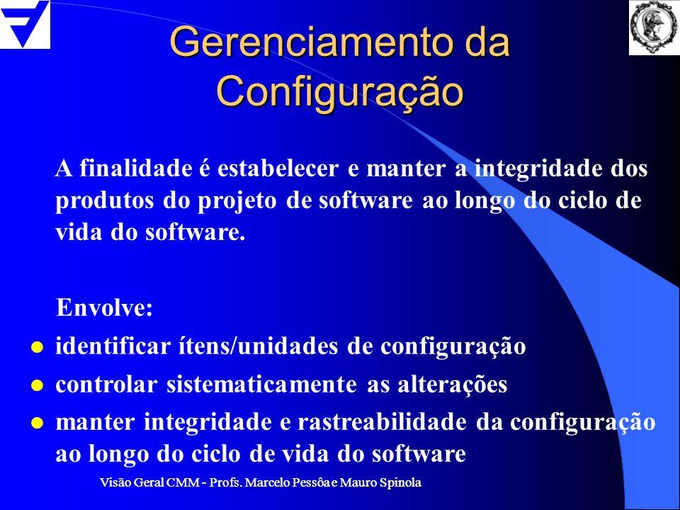 Visão Geral CMM - Profs. Marcelo Pessôa e Mauro Spinola Gerenciamento da Configuração A finalidade é estabelecer e manter a integridade dos produtos d