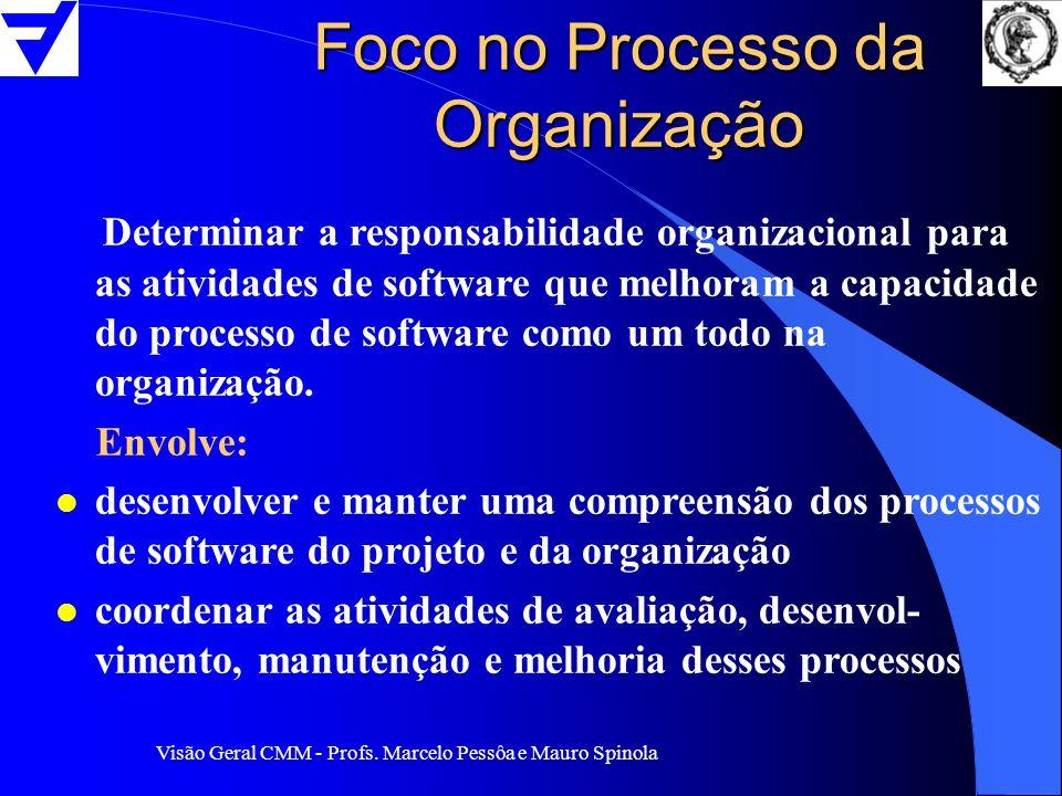 Visão Geral CMM - Profs. Marcelo Pessôa e Mauro Spinola Foco no Processo da Organização Determinar a responsabilidade organizacional para as atividade