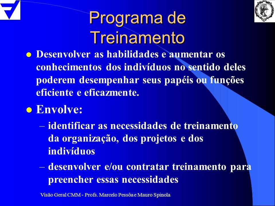Visão Geral CMM - Profs. Marcelo Pessôa e Mauro Spinola Programa de Treinamento l Desenvolver as habilidades e aumentar os conhecimentos dos indivíduo