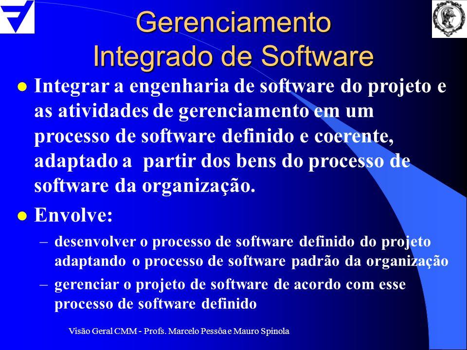 Visão Geral CMM - Profs. Marcelo Pessôa e Mauro Spinola Gerenciamento Integrado de Software l Integrar a engenharia de software do projeto e as ativid