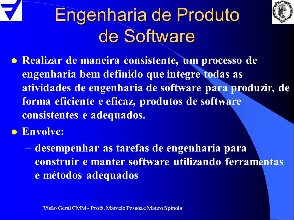 Visão Geral CMM - Profs. Marcelo Pessôa e Mauro Spinola Engenharia de Produto de Software l Realizar de maneira consistente, um processo de engenharia