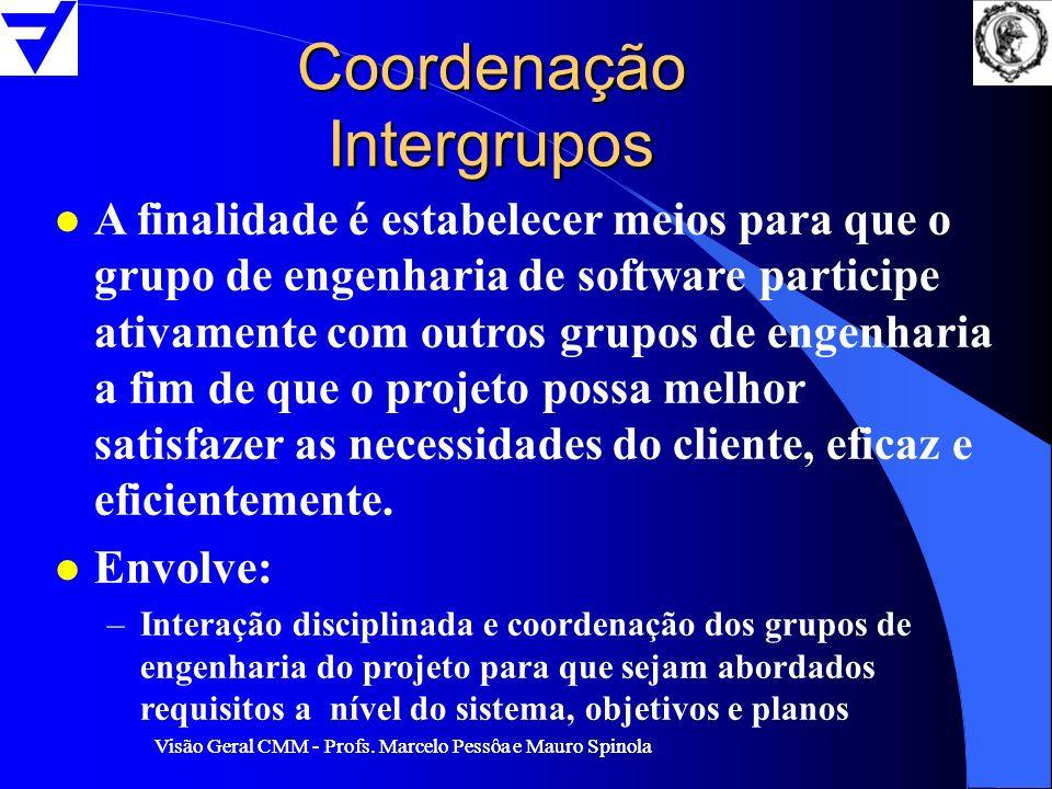 Visão Geral CMM - Profs. Marcelo Pessôa e Mauro Spinola Coordenação Intergrupos l A finalidade é estabelecer meios para que o grupo de engenharia de s