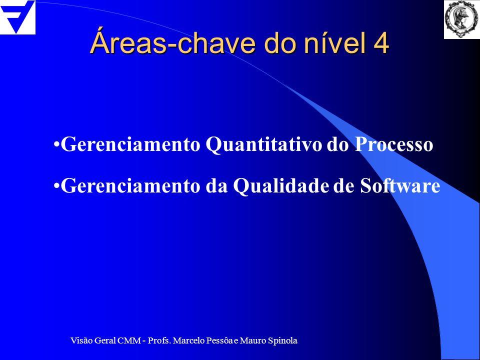 Visão Geral CMM - Profs. Marcelo Pessôa e Mauro Spinola Áreas-chave do nível 4 Gerenciamento Quantitativo do Processo Gerenciamento da Qualidade de So