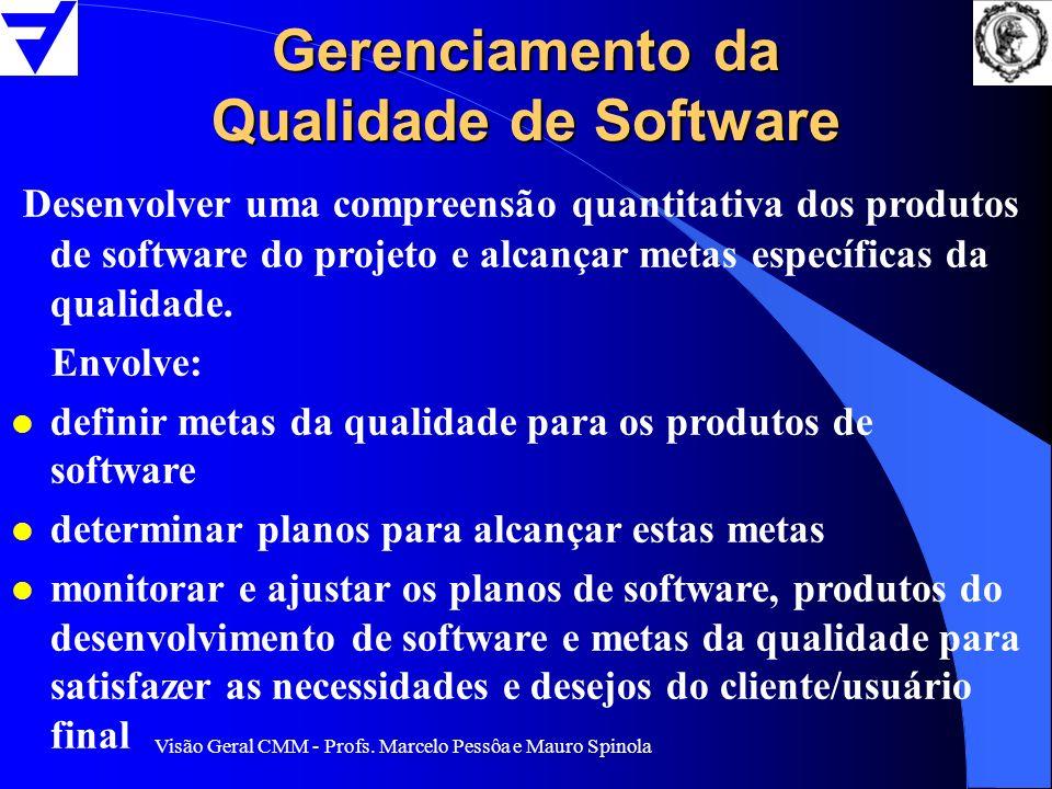 Visão Geral CMM - Profs. Marcelo Pessôa e Mauro Spinola Gerenciamento da Qualidade de Software Desenvolver uma compreensão quantitativa dos produtos d