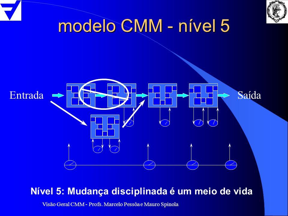 Visão Geral CMM - Profs. Marcelo Pessôa e Mauro Spinola modelo CMM - nível 5 EntradaSaída Nível 5: Mudança disciplinada é um meio de vida